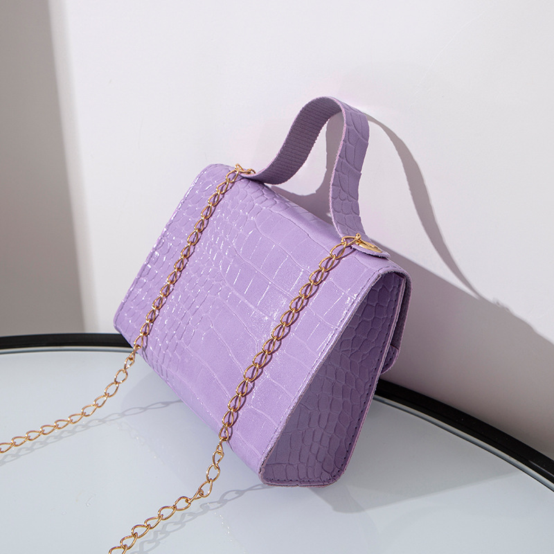 Alligator Print Solid Chain Crossbody Bag With Handle