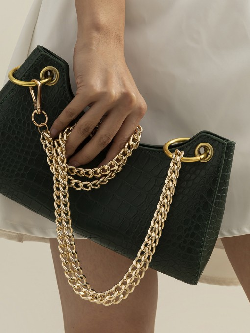 Black crocodile pattern leather bag with golden chain