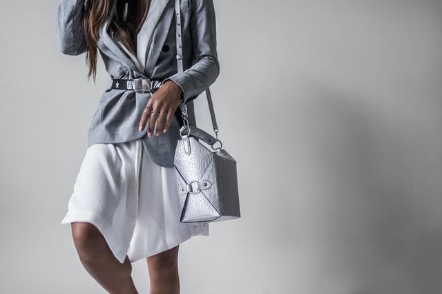 Grey high fashion shoulder bag