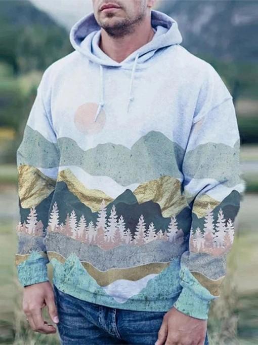 Landscape Printed Long Sleeve Men Pullover Hoodie