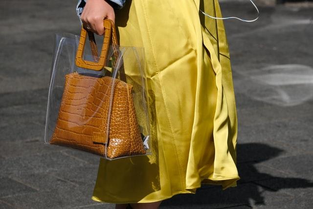 Plastic stitching crocodile leather bag