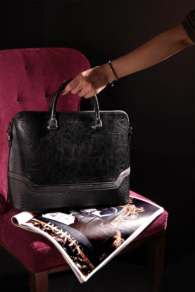 Premium black crocodile leather bag