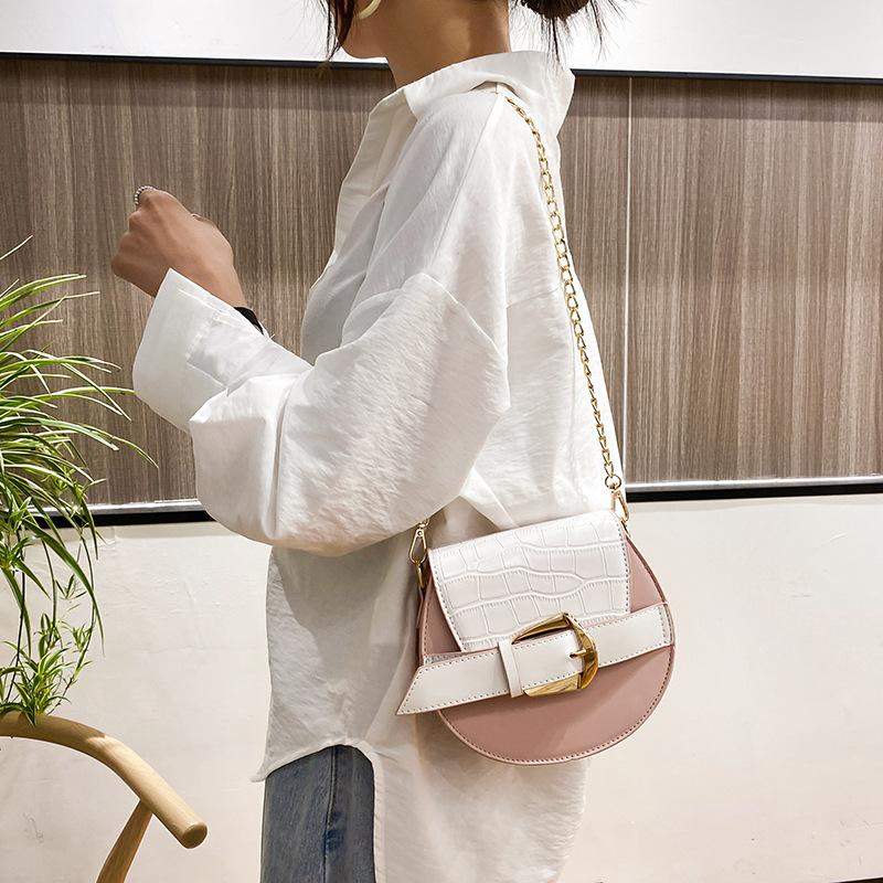 Trendy Crocodile Pattern Solid Color Chain Shoulder Bag