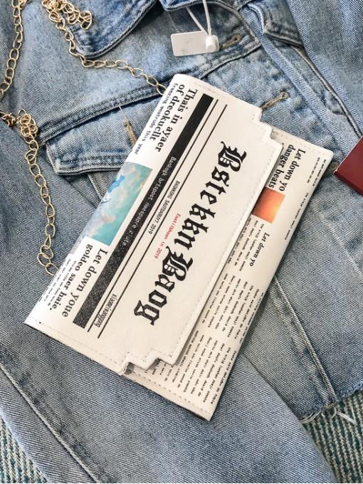 Trendy Newspaper Print Chain Shoulder Bag