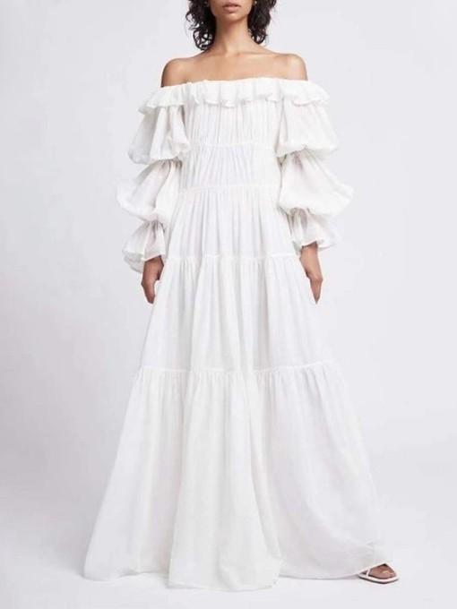 Elegant Ruffled Off Shoulder Boutique Maxi Dress