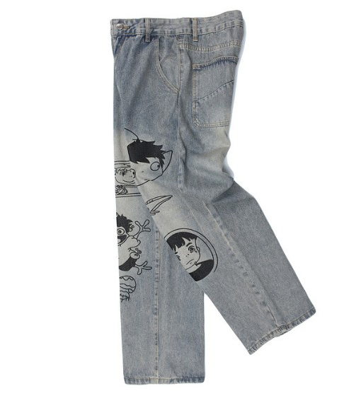 Cartoon Printing Wide Leg Jeans For Men