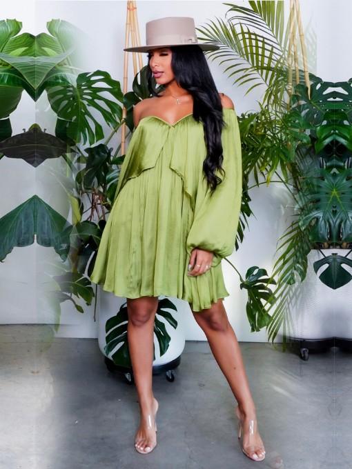 Chiffon Solid Loose Casual Long Sleeve Dress