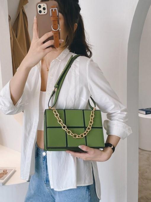 Fashion Plaid Chain Shoulder Bags For Women