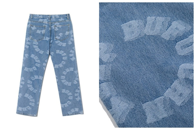Hip-Hop Style Letter Printed Loose Denim Jeans