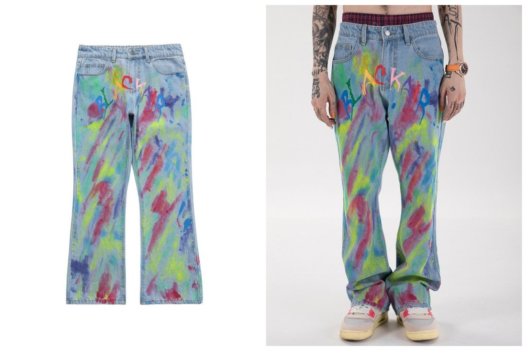 Hip Pop Colorful Graffiti Men Bell Bottom Jeans