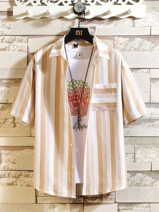 Plus Size Summer Casual Striped Shirt For Men
