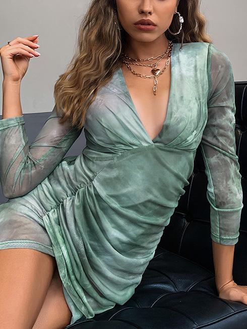 Sexy Club Green Rushed V Neck Dresses