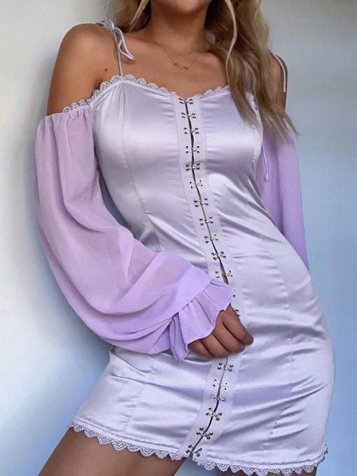 Summer Fashion Trendy Sweet Purple Long Sleeve Dress