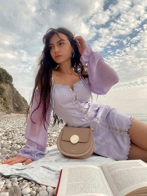 Summer Fashion Trendy Sweet Purple Long Sleeve Dress2