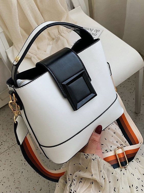 All-Match Contrast Color Prevailing Shoulder Bag With Handle