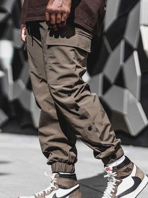 Chic Pure Color Pencil Cargo Pants For Men