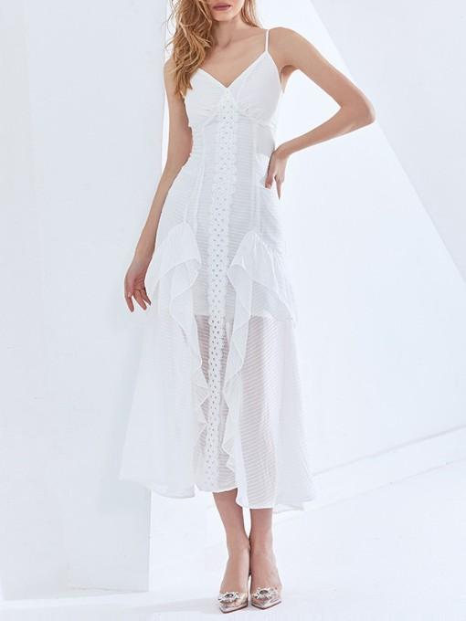 Chic See Through White Sleeveless Midi Dress