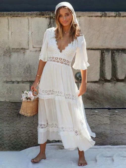 Deep V Lacework Short Sleeve Maxi Dress