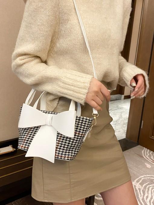 Fashion Bow Houndstooth Handbags Women