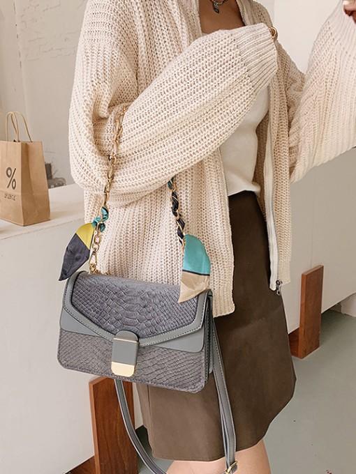 Fashion Silk Scarf Decor Chain Ladies Shoulder Bags