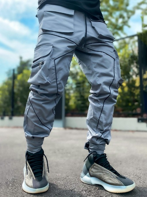 Pockets Reflective Line Design Cargo Pants