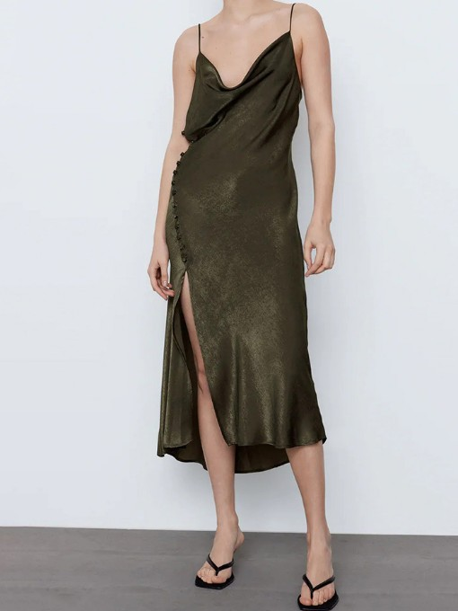 Pure Color High Vent Camisole Dress Summer Sexy