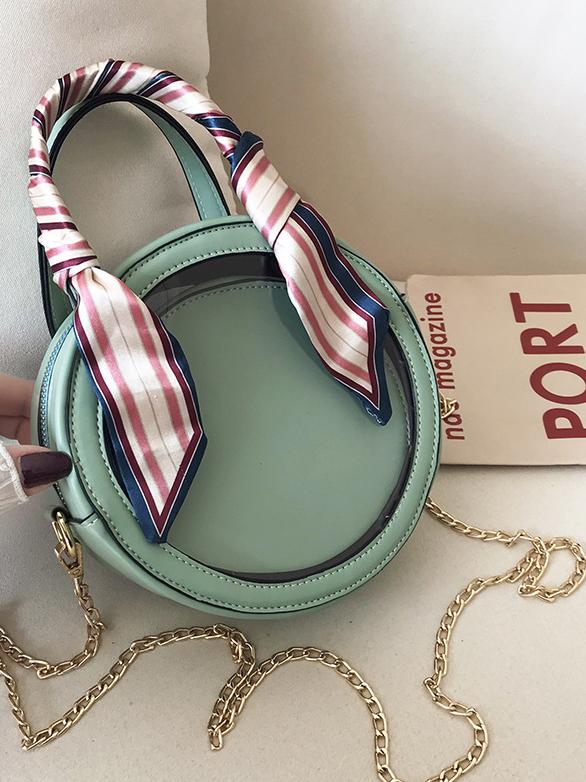 Silk Scarf Handle 2 Piece Round Chain Shoulder Bag