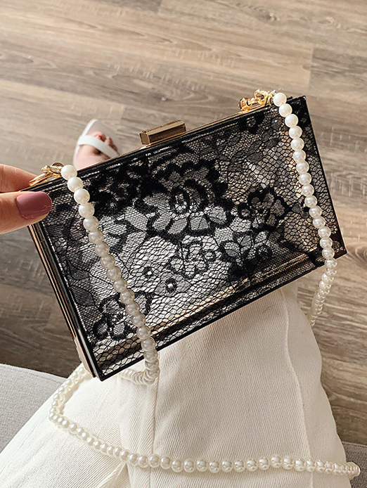 Transparent Faux Pearl Chain Square Crossbody Bag Hot