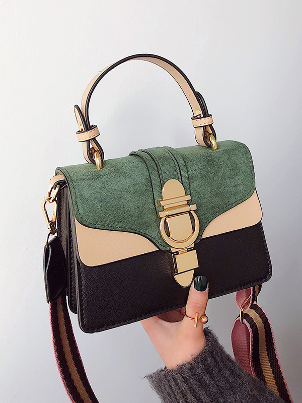 Trendy Contrast Color Hasp Shoulder Bags With Handle