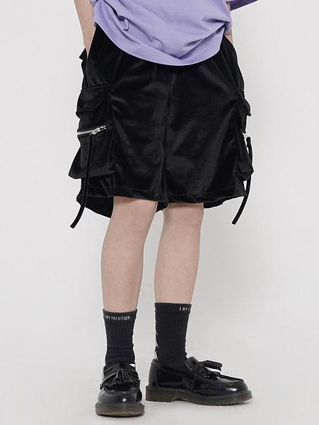 Trendy Velvet Loose Cargo Pants With Pocket