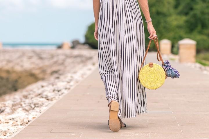 fashion woman walking on the beach